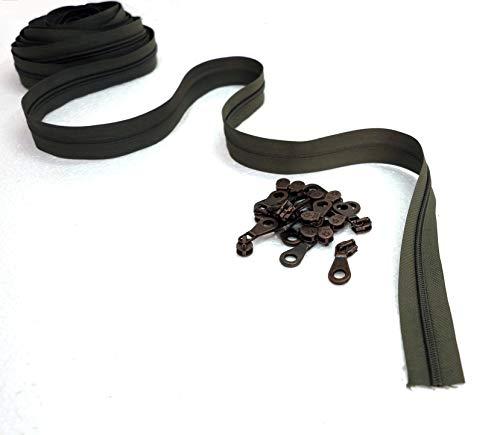 Ritssluitingen van nylon < > doorlopende ketting op maat < > metalen schuiver < > 7 lengtes cm 2, 5, 10, 20, 40, 80, 160 < > breedte 6 mm < > polyesterband < > Made in Italy 10 m + 30 cursori Groen