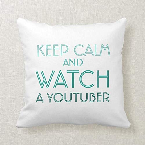 CELYCASY Keep Calm Youtuber Kissen für Zoella-Fans, dekorativer Kissenbezug für Sofa, Schlafzimmer, Lendenwirbelkissen, 45,7 x 45,7 cm