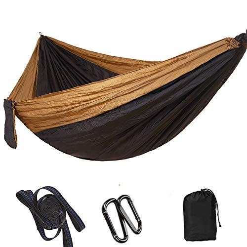 FIZZENN Hamac de Camping Double Voyage Ultra-léger | Capacité de Charge de 200Kg, (300 x 200 cm) Respirante, pour Jardin intérieur extérieur, Textile,Brown+Black