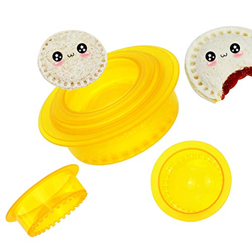 HiYZ Sandwich Cutter and Sealer, Pack of 5 Uncrustables Sandwich Maker for Kids, Bread Sandwich Decruster Pancake Maker DIY Cookie Cutter for Boys and Girls Lunch Lunchbox and Bento Box(Yellow)