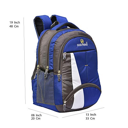 Good Friends Super 36 Liters Casual Backpack for Unisex Blue and led Watch