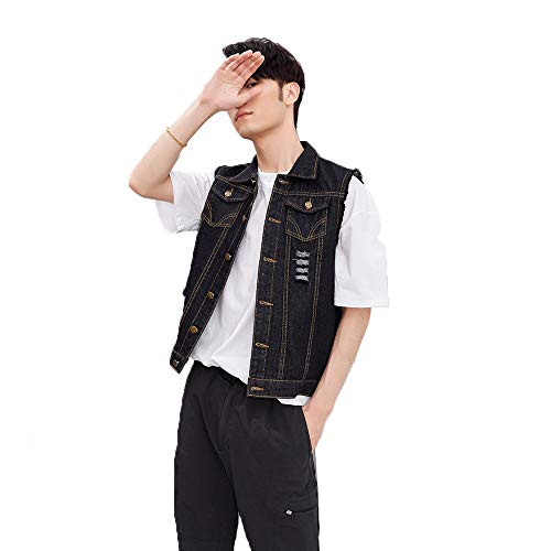 Spring and summer new denim vest men's trend Korean thin retro fit hole coat black academic style (5XL, black)