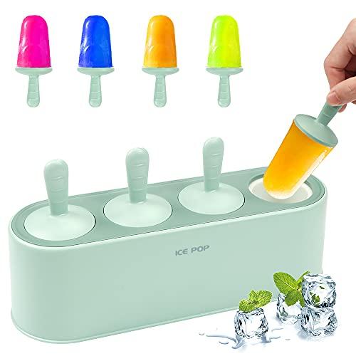 Eisformen, 4 Eisform EIS am Stiel, EIS am Stiel Formen, EIS am Stiel Bereiter, DIY Ice Pop, Eisförmchen Popsicle Formen, Stieleisformer Eislutscher Formen, Eisform für Kinder, Baby