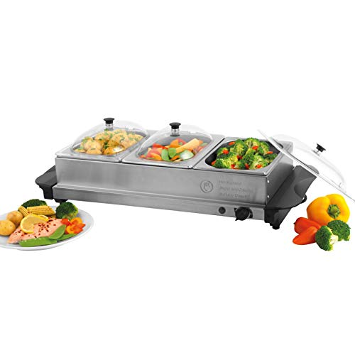GILES & POSNER EK2955 Three Pan Portable Food Warming Tray Buffet Server, 4.5 L, Nylon