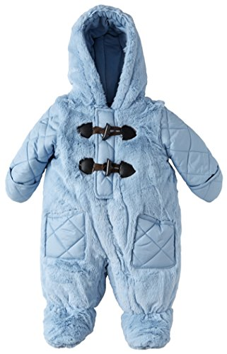Rothschild Baby Boys Quilt and Fur Footed Puffer Snowsuit with Hood and Toggles - Baby Blue (Size 6/9M)