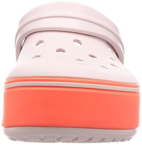 Crocs Kids' Crocband Platform Clog | Comfortable Slip On Shoes | Platform Shoes, Barely Pink/Bright Coral, J1 US Little Kid