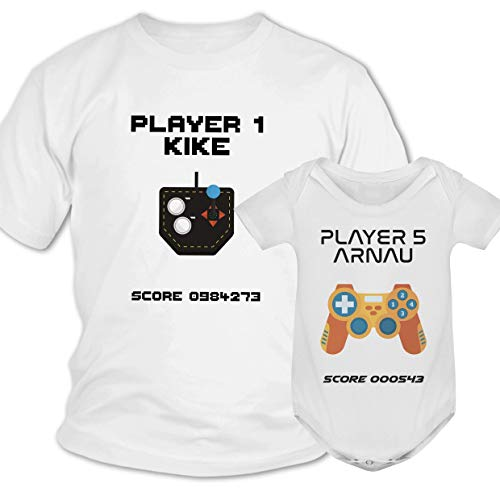 Conjunto camiseta padre hijo gamer personalizado, Regalo día del Padre, Madre, Navidad, Cumpleaños papa