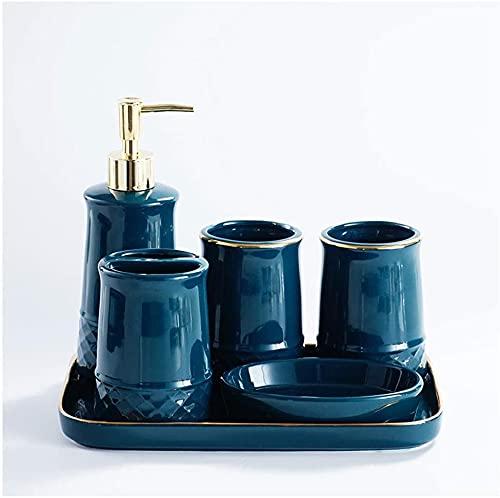 Cerámica Minimalista Moderno Cuarto de baño Conjunto de Seis Piezas Loción Botella Jabón Plato Titular de Cepillo de Dientes Taza con Traje de Bandeja Hogar (Color : Green)