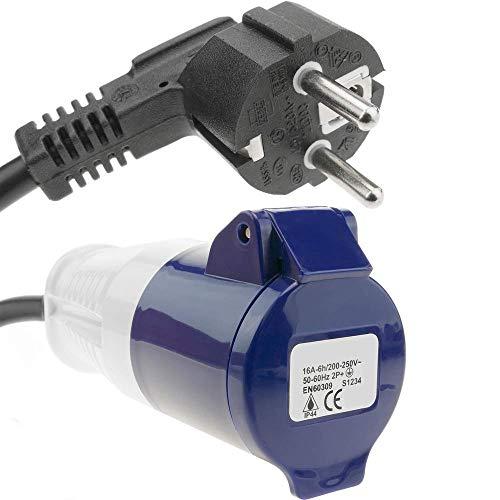 BeMatik - Adapter CEE plug-Buchse an SCHUKO-Stecker 2P+T 16A 250V IP44 IEC-60309 Kabel 1m