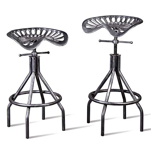 Lisuden Industrial Tractor Seat Barstools Farmhouse Cast Iron Adjustable Counter Height Stools Swivel Kitchen Saddle Bar Stools Set of 2 Metal Outdoor Black Brush Silver Dining Chair 24'-30'