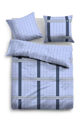 TOM TAILOR 0009976 Bettwäsche Garnitur mit Kopfkissenbezug Flanell 1x 135x200 cm + 1x 80x80 cm indigo blue