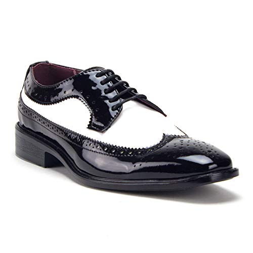 Jazame Men's Patent Leather Formal Wing Tip Lace Up Oxford Dress Shoes, Black/White, 8.5