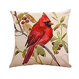 LEEDY Little Bird Cojín Funda de Almohada Funda de Almohada de Lino Sofá Coche...