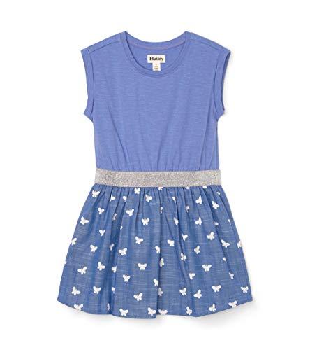 Hatley Girls' Elastic Waist Dress, Butterfly Kaleidoscope, 8 (Big Kids)