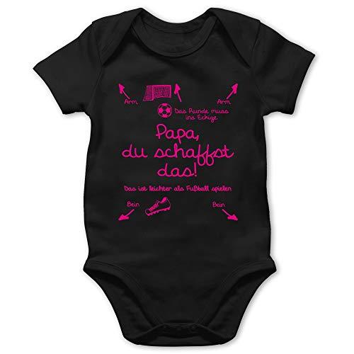 Shirtracer Strampler Motive - Papa du schaffst das Fußball Mädchen - 1/3 Monate - Schwarz - Baby Strampler Papa du schaffst das fußball - BZ10 - Baby Body Kurzarm für Jungen und Mädchen