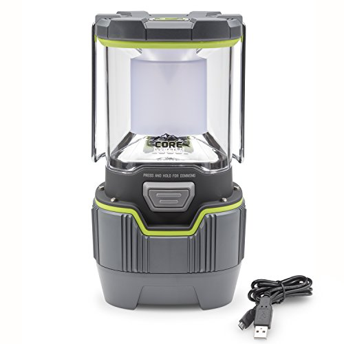 Core 1000 Lumen CREE LED Rechargeable Camping Emergency Lantern, Lithium Ion Batteries, Charges Cell Phones (1-Pack)