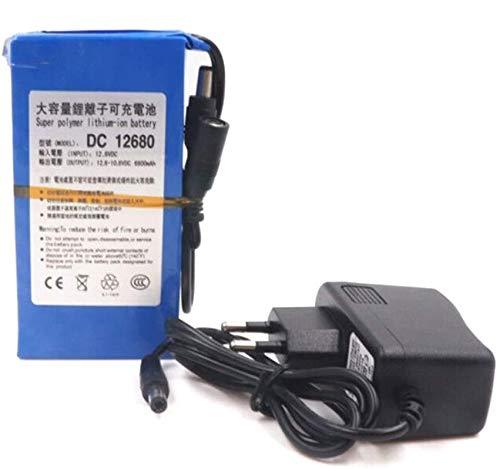 Batteria agli Ioni di Litio ricaricabile per Batteria TV in Circuito chiuso, da 12 V, con Adattatore, Capacità molto forte, 6800mAh DC12V