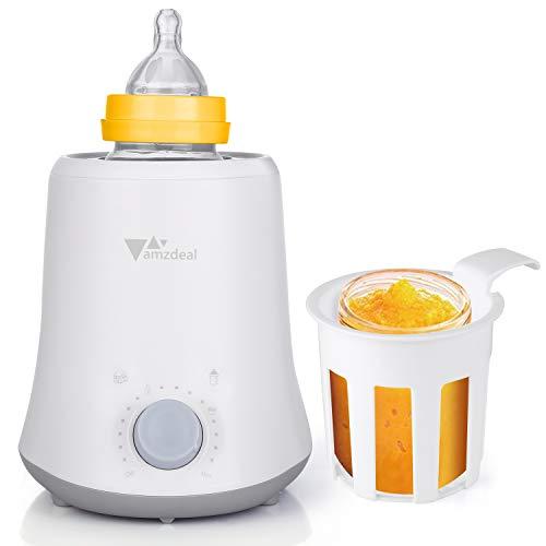 amzdeal 3 in 1 Baby Flaschenwärmer, sicheren und schonenden Erwärmen, Auftauen und Warmhalten, BPA frei, Eine Tastenbedienung, Babykostwärmer mit LED Display für Babyflaschen und Gläschen