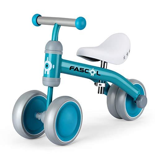 Fascol Bicicleta sin Pedales con Cojín Ajustable, Bicicleta Equilibrio Metálico con 4 Ruedas Cerradas, Bicicleta Infantil para Niños de 14-54 Meses (Verde)