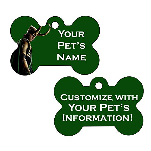 Double Sided Pet Id Dog Tags | Personalized for Your Pet (Loki, Bone Shaped)