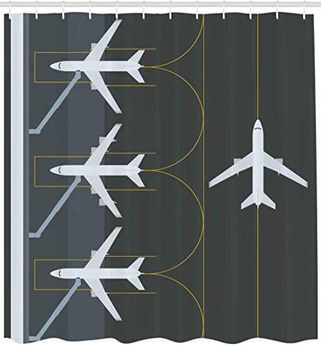 None brand Cortina De Ducha del Aeropuerto AviacióN TemáTica IlustracióN Simple De Aviones Estacionados Aterrizados En La DecoracióN del BañO De Tela De Tela del AeróDromo-L120xh200cm