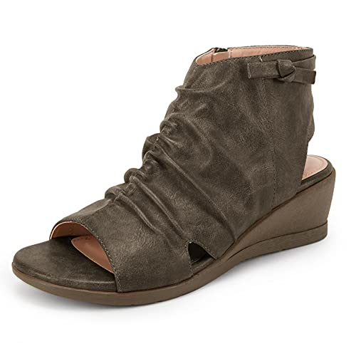 Womens Slouchy Backless Booties Wedge Sandals Open Toe Ruched Low Heel Cutout Zip Up Ankle Boots