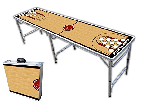 Read About 8-Foot Professional Beer Pong Table w/Holes - Portland Basketball Court Graphic