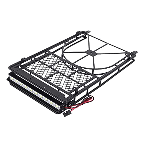 YNSHOU Toy accessories. Luggage Carrier Roof Rack with LED Light Bar Spare Tire Rack for RC Crawler Car Axial SCX10 90046 AXI03007 TRX4