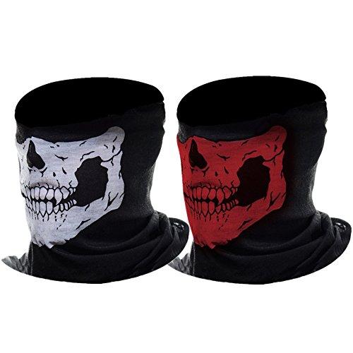 Tour de Cou Masque Tête de Moto Ghost de Skeleton Skull (Noir&Rouge, 2 Pack)