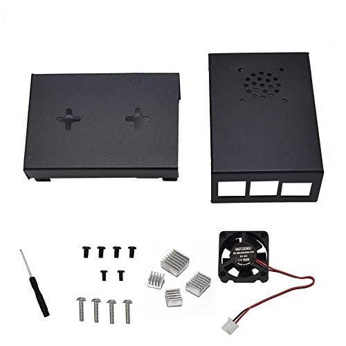 RLJJCS1163 Black Aluminiumlegierung Fall Schutzhülle Legierung Gehäuse + Schwarz/Splitter Kühlkörper + Chilling Fan DIY Kit for RPI 4 (Color : Sliver)