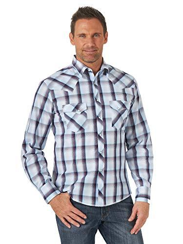 Wrangler Western Fashion Two Pocket Long Sleeve Snap Shirt Camisa, Azul ventilado, XL para Hombre