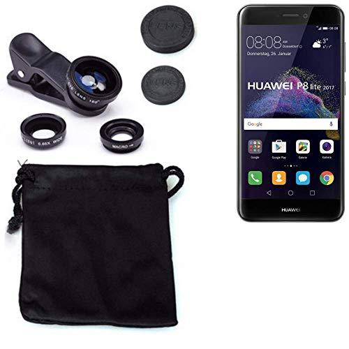K-S-Trade 3in1 para Huawei P8 Lite 2017 Dual SIM Obiettivo Lente 180° Fisheye, Gran Angular 0.67x, Macro Amplicación len Negro