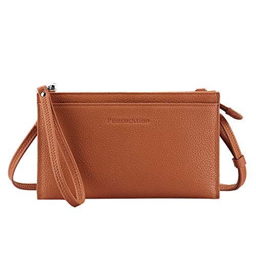Peacocktion Small Crossbody Bags for women, Wristlet Clutch Cell Phone Wallet Purse PU Leather Shoulder Bag with 2 Straps (Brown)