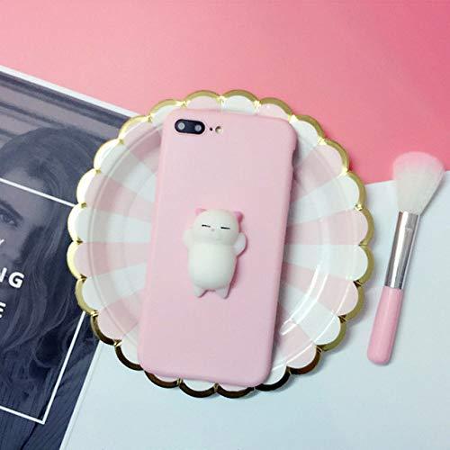 NHSCDZ La Caja del teléfono 3D Squishy Cute Cat Phone Case para Apple iPhone X 8 7 6S 6 Plus 5 5S 5C SE Stress Reliever Contraportada Estuches con Dibujos