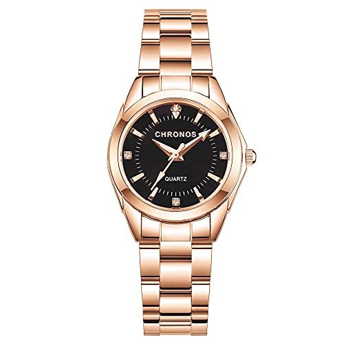 Clastyle Relojes de Pulsera para Mujer Diamantes Moda Reloj de Pulsera de Acero Inoxidable Oro Rosa Clásico