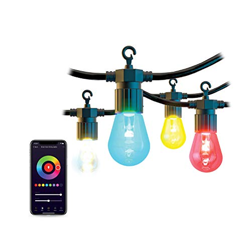 Atomi Smart Indoor/Outdoor Commercial Grade LED String Lights - Smart WiFi Controlled from Anywhere, Color Changing and White - 36 FT - 12 Ultra Durable PVC Plastic Bulbs -Alexa, Google, iOS, Android