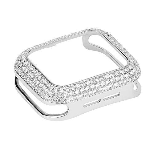 PGGFA Parachoques de Lujo de Las Mujeres de Cobre Tallado para la Caja del Reloj de Apple 44 / 40mm 42 / 38mm Cubierta de Metal de Bling de Diamante para iWatch Series SE / 6/5/4/3/2