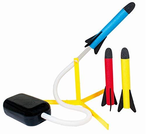 Paul Günther 1549 - Air Rocket Raketenspiel für Kinder, inkl. Fußpumpe und 3 Raketen aus Schaumstoff, lustiger Spielspaß in bunten Farben
