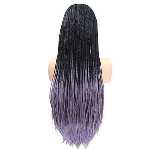 Braided Synthetic Lace Front Wigs Memphis Mall wholesale Fashion Purple Ombre for