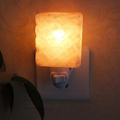 Aohro Lampe de Sel, Mini Lampe Murale en Cristal de Sel Naturel Veilleuses pour air Purifiant, décoration et d'éclairage(Carré1-Forme)