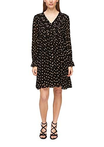 s.Oliver BLACK LABEL Damen Chiffon-Kleid mit Musterprint Black Polkadots 38
