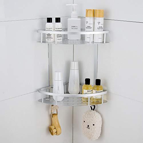 Hoomtaook Rinconera Ducha Bandeja de baño triangular plateada, Cesta de ducha, Rinconera, Aluminio aeroespacial, Organizador de baño, Montaje en pared sin taladro, Adhesivo, 2 niveles