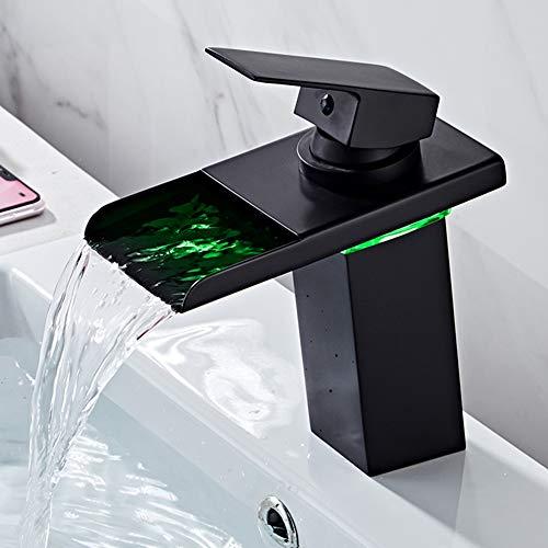 BOAOTX Waschtischarmatur Wasserfall LED Bad Wasserhahn Schwarz mit RGB 3 Farbewechsel Einhebelmischer Badarmatur für Badezimmer Waschbecken WC