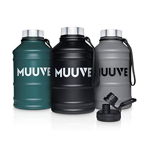 MUUVE® 2L | 1,3L Edelstahl Trinkflasche - 2 Deckel - Bürste - Auslaufsicher, BPA Frei, Kohlensäure Geeignet | Water Jug für Fitness, Sport, Gym (Petrol, 2,2 Liter)