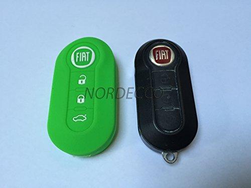 100% silicone haute 3 Bouton Étui porte-clés Protection d'écran à rabat Fiat 500 500L Abarth Fiat Grande Punto Panda Brava STILO Linea (Vert)