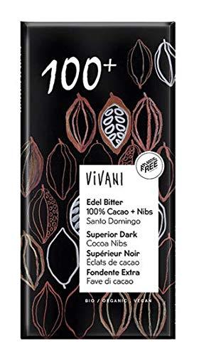 Vivani Edelbitterschokolade mit 100% Kakao & Kakao-Nibs (80 g) - Bio