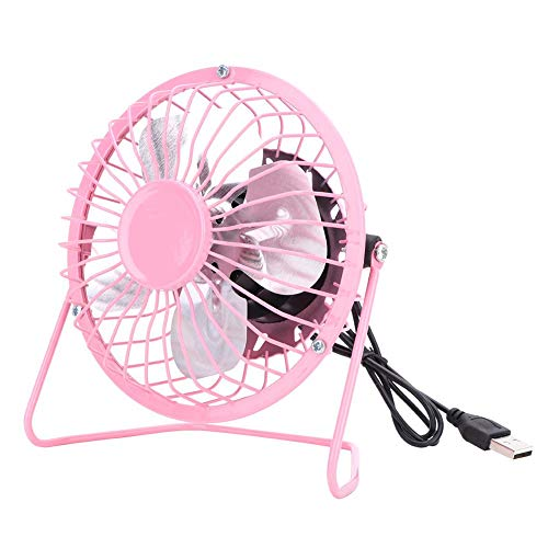 Mini USB-bureauventilator, USB-tafelbureau Persoonlijke ventilator Draagbare mini-USB-ventilator Office Home Desktop Smeedijzeren desktopventilator Stille werking Metalen tafelventilator(Roze)