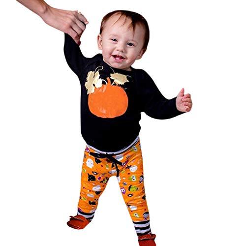 Traje de Halloweencon Estampado de Calabaza de Manga Larga para Bebé +Conjunto de Pantalones A Rayas de Dibujos Animados