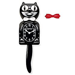 Kit Cat Klock Classic Black Clock with White and Red Bow Ties