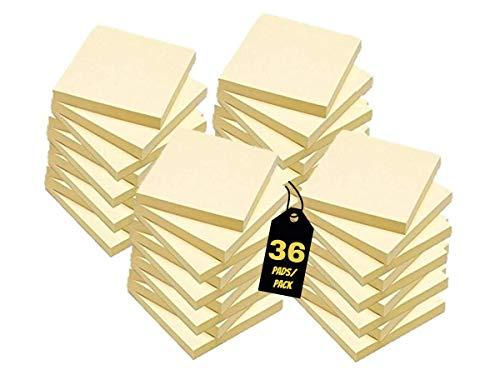 "1InTheOffice Yellow Sticky Notes, 3"" x 3"" Yellow self Stick Sticky Notes 36/Pack of 100= 3600 Notes Pads (36)"